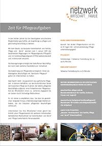 Zeit für Pflegeaufgaben. Informationsblatt für Unternehmen.
