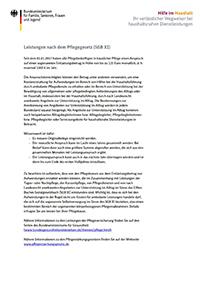 Hilfe im Haushalt. Leistungen nach dem Pflegegesetz (SGB XI)